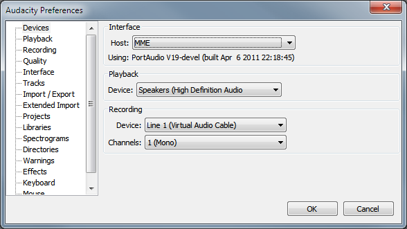 Audacity Options