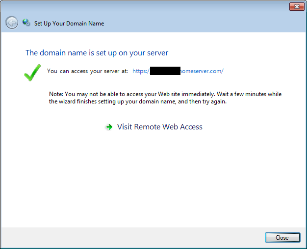 Domain is setup screen