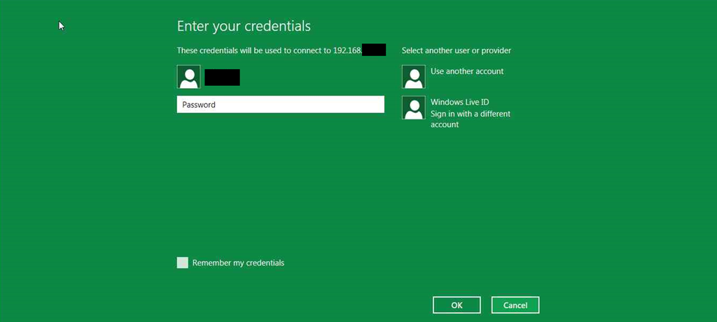 Credentials Screen