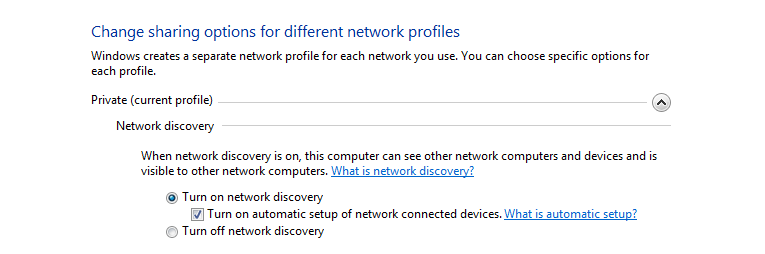 Network Discovery Screen