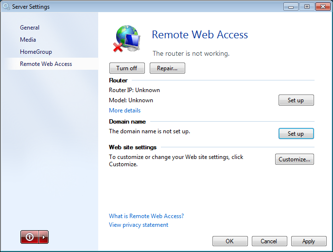 Remote Web Access Screen