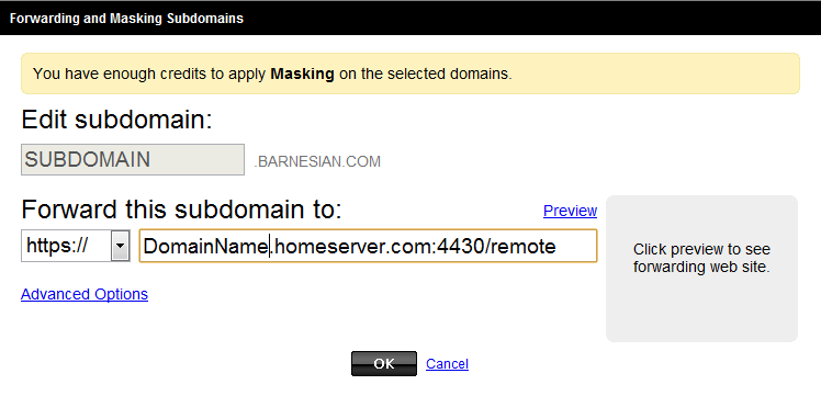 Go Daddy Subdomain forwarding